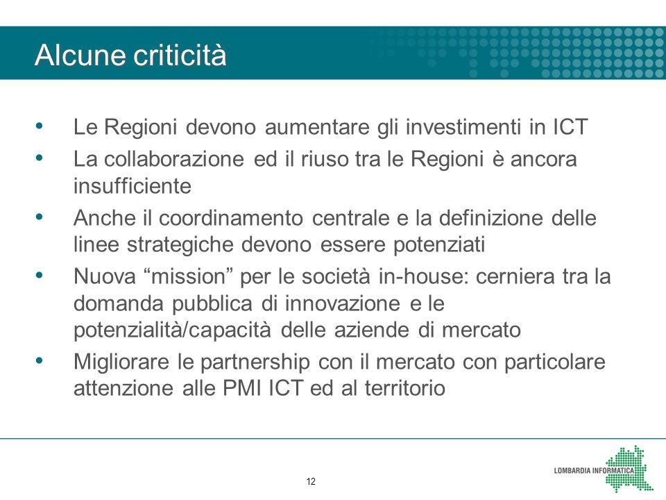 Alcune criticità Le Regioni devono aumentare gli investimenti in ICT La collaborazione ed il riuso tra le Regioni è ancora insufficiente Anche il coordinamento centrale e la definizione delle linee strategiche devono essere potenziati Nuova mission per le società in-house: cerniera tra la domanda pubblica di innovazione e le potenzialità/capacità delle aziende di mercato Migliorare le partnership con il mercato con particolare attenzione alle PMI ICT ed al territorio 12