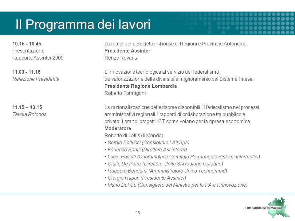 Il Programma dei lavori La realtà delle Società in-house di Regioni e Provincie Autonome. Presidente Assinter Renzo Rovaris L'innovazione tecnologica