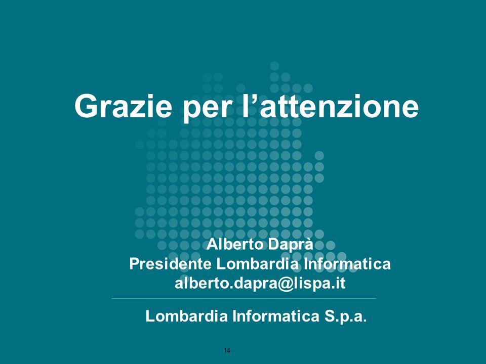 Alberto Daprà Presidente Lombardia Informatica alberto.dapra@lispa.it Lombardia Informatica S.p.a. Grazie per l'attenzione 14