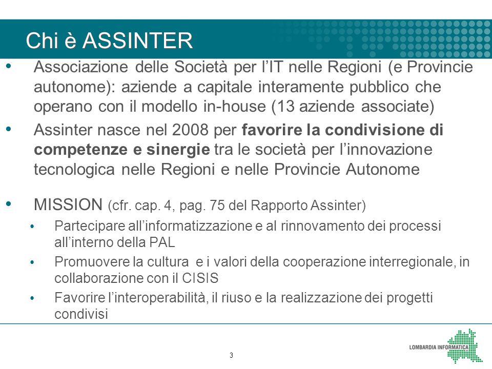 Chi è ASSINTER Associazione delle Società per l'IT nelle Regioni (e Provincie autonome): aziende a capitale interamente pubblico che operano con il mo