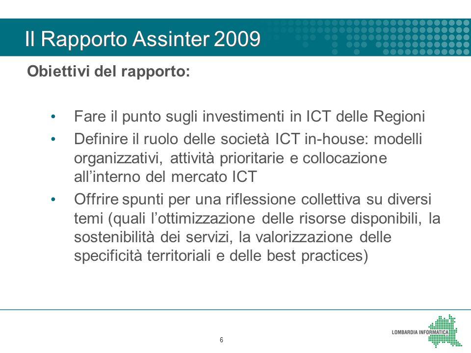Il Rapporto Assinter 2009 Obiettivi del rapporto: Fare il punto sugli investimenti in ICT delle Regioni Definire il ruolo delle società ICT in-house: