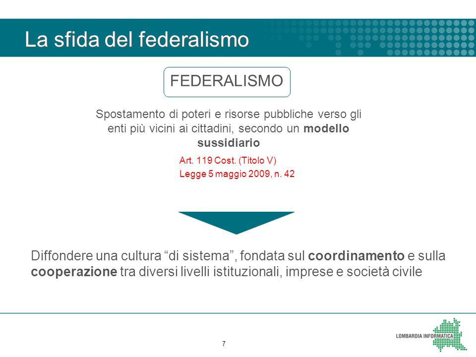 La sfida del federalismo 7 FEDERALISMO Spostamento di poteri e risorse pubbliche verso gli enti più vicini ai cittadini, secondo un modello sussidiario Art.
