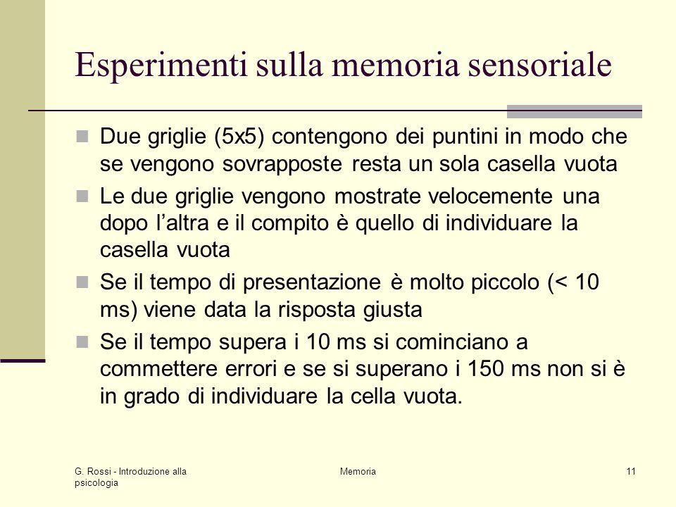 G. Rossi - Introduzione alla psicologia Memoria11 Esperimenti sulla memoria sensoriale Due griglie (5x5) contengono dei puntini in modo che se vengono