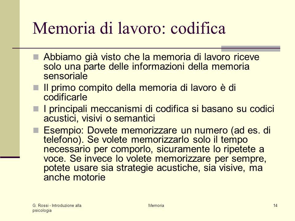 G. Rossi - Introduzione alla psicologia Memoria14 Memoria di lavoro: codifica Abbiamo già visto che la memoria di lavoro riceve solo una parte delle i