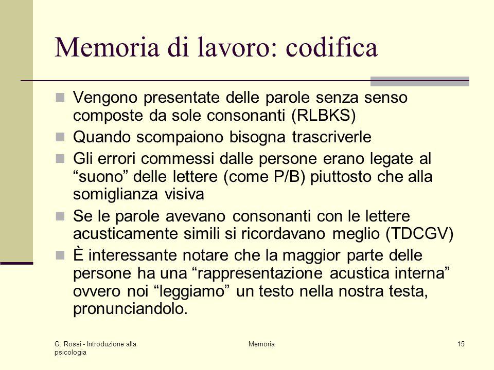 G. Rossi - Introduzione alla psicologia Memoria15 Memoria di lavoro: codifica Vengono presentate delle parole senza senso composte da sole consonanti