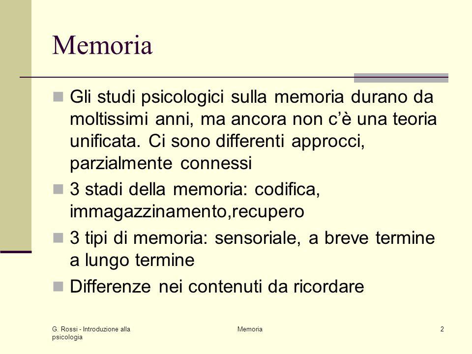 G. Rossi - Introduzione alla psicologia Memoria2 Gli studi psicologici sulla memoria durano da moltissimi anni, ma ancora non c'è una teoria unificata