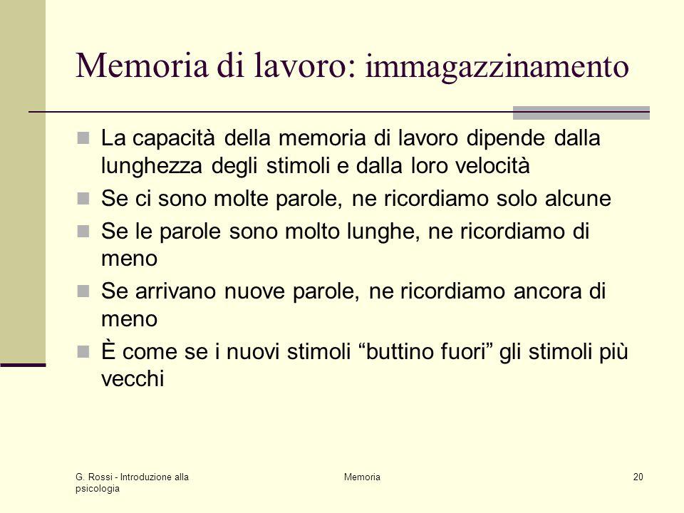 G. Rossi - Introduzione alla psicologia Memoria20 Memoria di lavoro: immagazzinamento La capacità della memoria di lavoro dipende dalla lunghezza degl