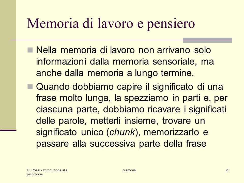 G. Rossi - Introduzione alla psicologia Memoria23 Memoria di lavoro e pensiero Nella memoria di lavoro non arrivano solo informazioni dalla memoria se