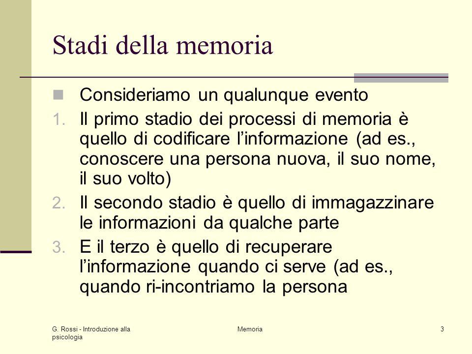 G. Rossi - Introduzione alla psicologia Memoria3 Stadi della memoria Consideriamo un qualunque evento 1. Il primo stadio dei processi di memoria è que