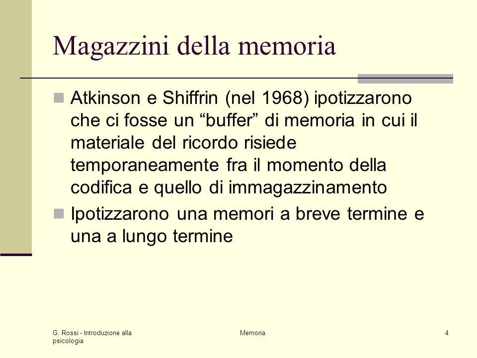 """G. Rossi - Introduzione alla psicologia Memoria4 Magazzini della memoria Atkinson e Shiffrin (nel 1968) ipotizzarono che ci fosse un """"buffer"""" di memor"""
