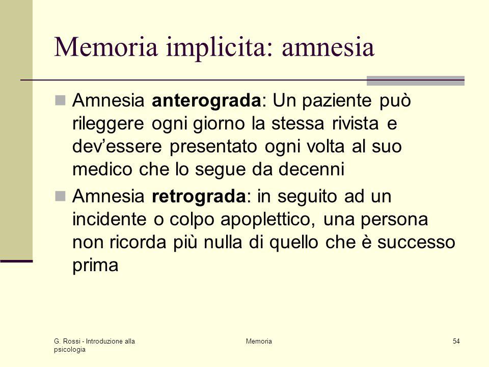 G. Rossi - Introduzione alla psicologia Memoria54 Memoria implicita: amnesia Amnesia anterograda: Un paziente può rileggere ogni giorno la stessa rivi