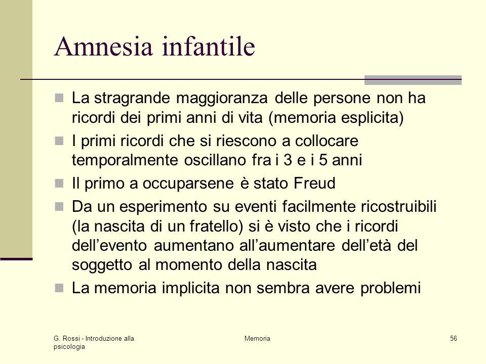 G. Rossi - Introduzione alla psicologia Memoria56 Amnesia infantile La stragrande maggioranza delle persone non ha ricordi dei primi anni di vita (mem