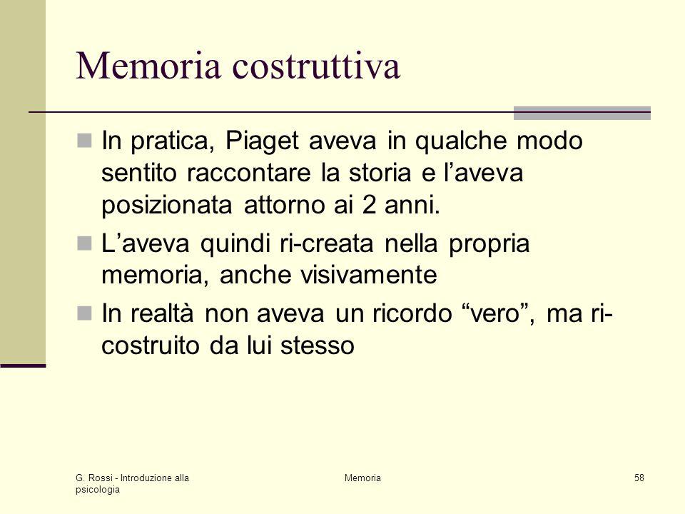 G. Rossi - Introduzione alla psicologia Memoria58 Memoria costruttiva In pratica, Piaget aveva in qualche modo sentito raccontare la storia e l'aveva