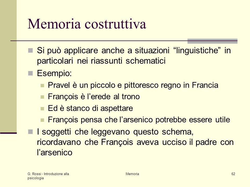 """G. Rossi - Introduzione alla psicologia Memoria62 Memoria costruttiva Si può applicare anche a situazioni """"linguistiche"""" in particolari nei riassunti"""