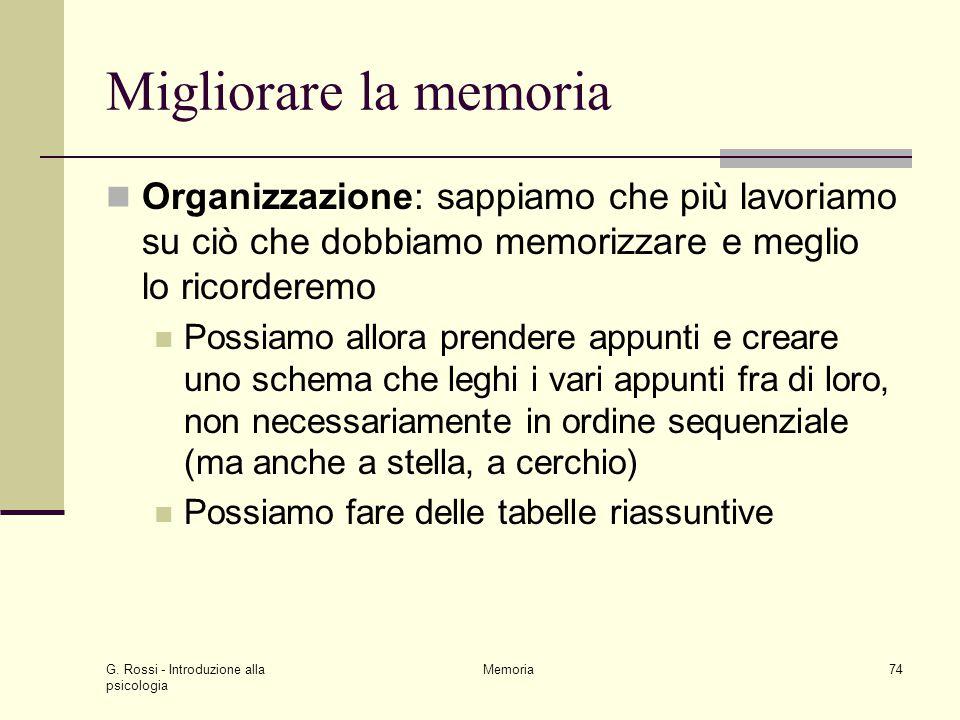 G. Rossi - Introduzione alla psicologia Memoria74 Migliorare la memoria Organizzazione: sappiamo che più lavoriamo su ciò che dobbiamo memorizzare e m