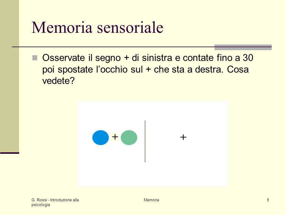 G. Rossi - Introduzione alla psicologia Memoria9 Memoria sensoriale Osservate il segno + di sinistra e contate fino a 30 poi spostate l'occhio sul + c