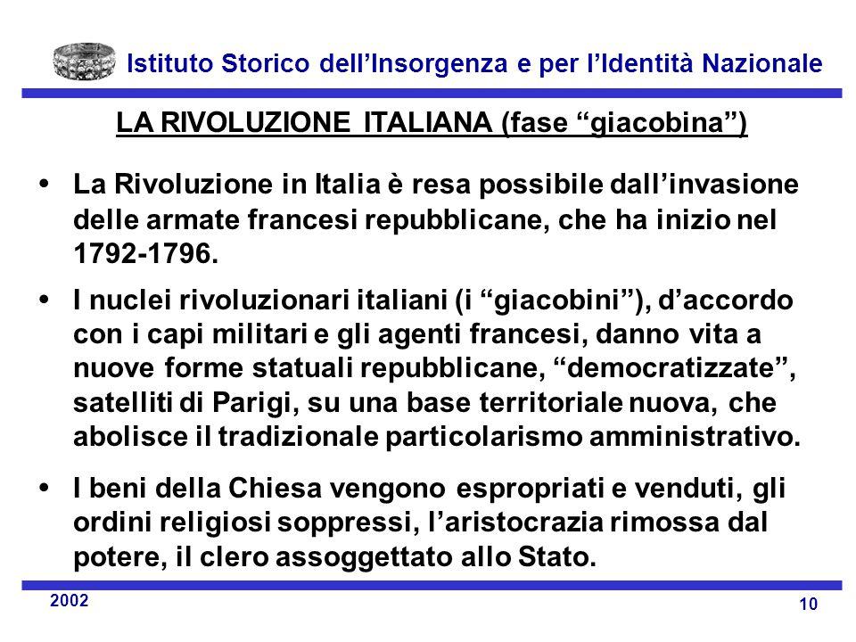 Istituto Storico dell'Insorgenza e per l'Identità Nazionale 10 2002 LA RIVOLUZIONE ITALIANA (fase giacobina )  La Rivoluzione in Italia è resa possibile dall'invasione delle armate francesi repubblicane, che ha inizio nel 1792-1796.