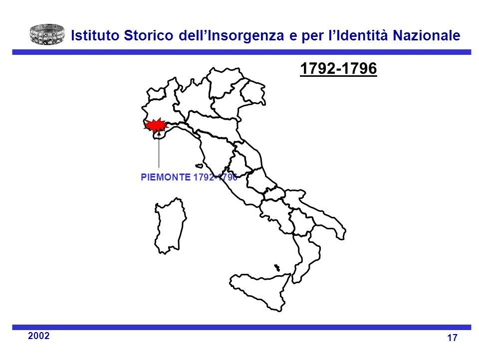 Istituto Storico dell'Insorgenza e per l'Identità Nazionale 17 2002 PIEMONTE 1792-1796 1792-1796
