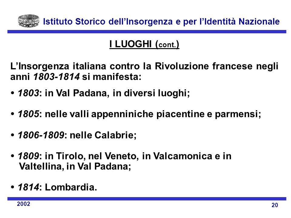 Istituto Storico dell'Insorgenza e per l'Identità Nazionale 20 2002 I LUOGHI ( cont.