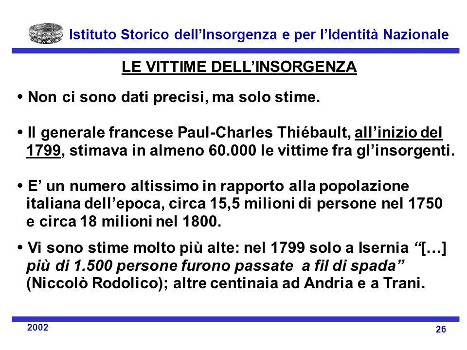 Istituto Storico dell'Insorgenza e per l'Identità Nazionale 26 2002 LE VITTIME DELL'INSORGENZA  Non ci sono dati precisi, ma solo stime.