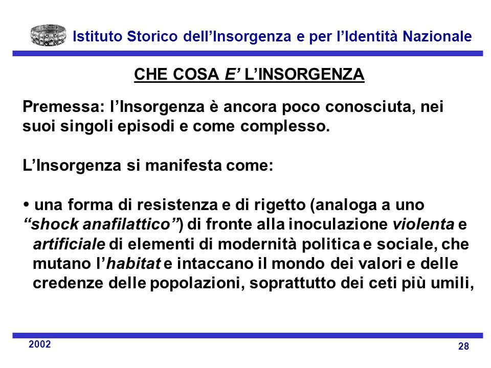 Istituto Storico dell'Insorgenza e per l'Identità Nazionale 28 2002 CHE COSA E' L'INSORGENZA Premessa: l'Insorgenza è ancora poco conosciuta, nei suoi singoli episodi e come complesso.