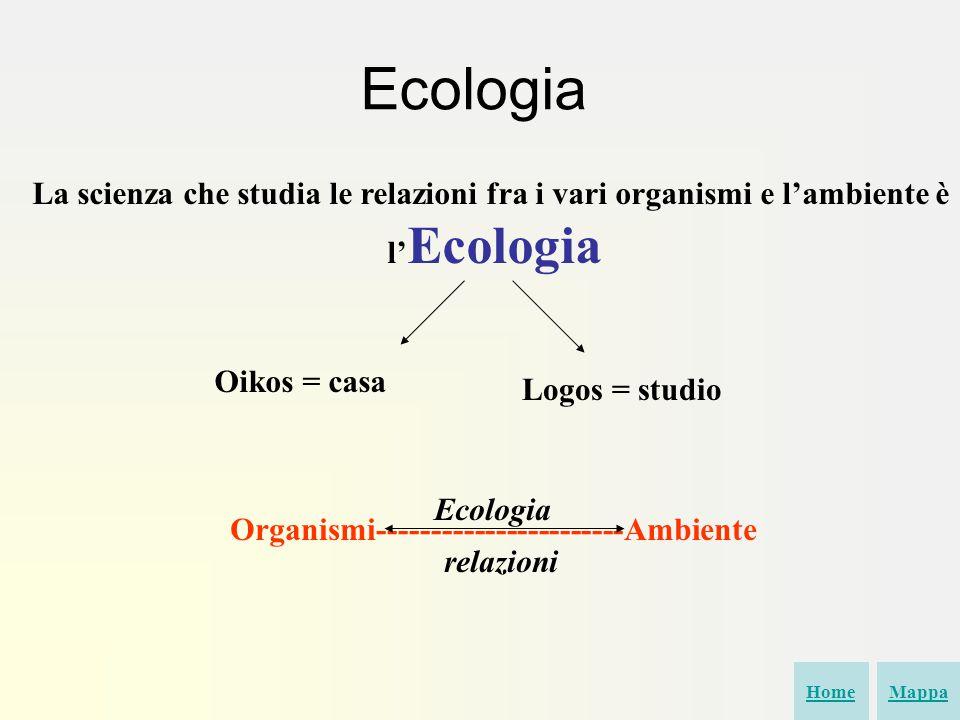 La scienza che studia le relazioni fra i vari organismi e l'ambiente è l' Ecologia Oikos = casa Logos = studio Organismi-----------------------Ambiente relazioni Ecologia HomeMappa