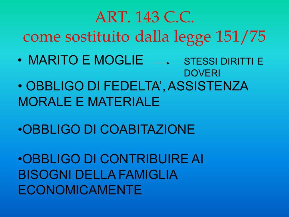 ART. 143 C.C. come sostituito dalla legge 151/75 MARITO E MOGLIE STESSI DIRITTI E DOVERI OBBLIGO DI CONTRIBUIRE AI BISOGNI DELLA FAMIGLIA ECONOMICAMEN