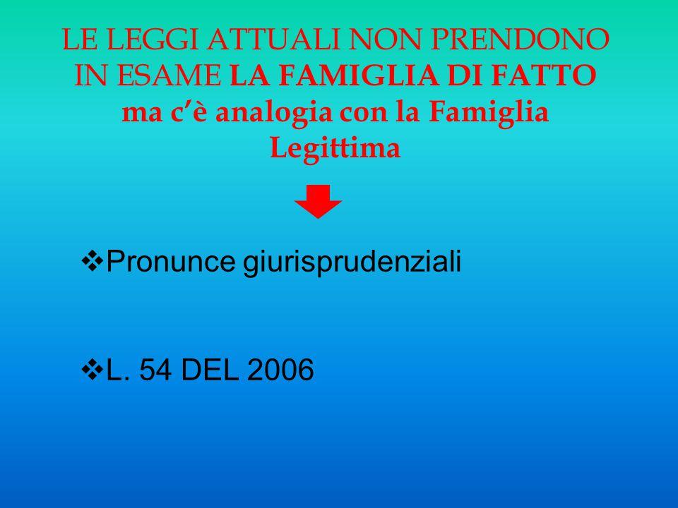 LE LEGGI ATTUALI NON PRENDONO IN ESAME LA FAMIGLIA DI FATTO ma c'è analogia con la Famiglia Legittima  Pronunce giurisprudenziali  L. 54 DEL 2006
