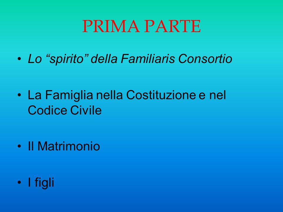 """PRIMA PARTE Lo """"spirito"""" della Familiaris Consortio La Famiglia nella Costituzione e nel Codice Civile Il Matrimonio I figli"""
