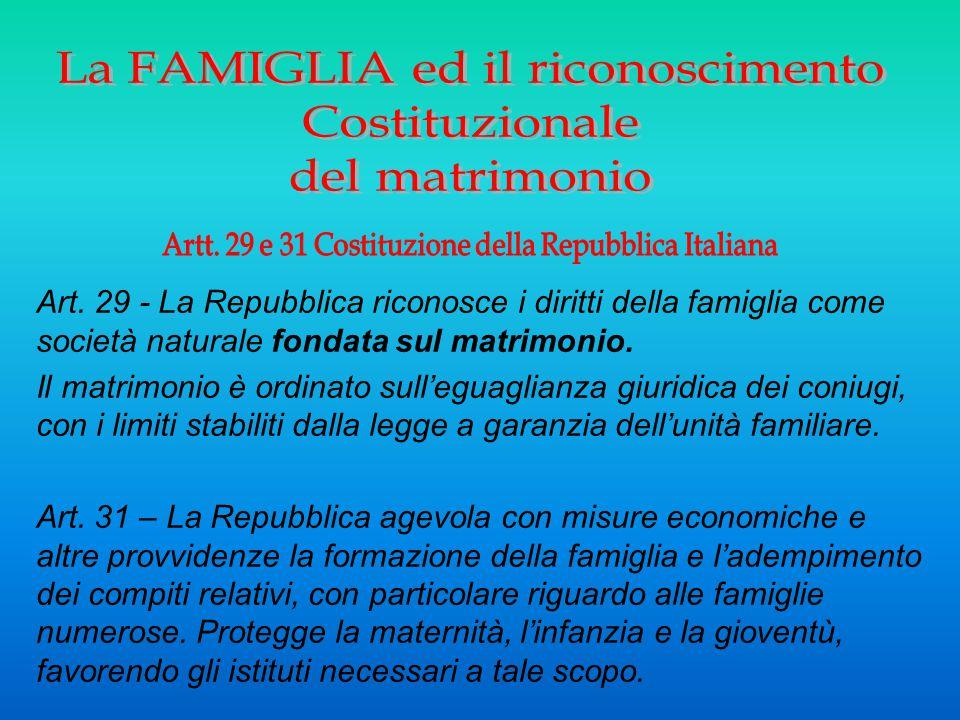 Art. 29 - La Repubblica riconosce i diritti della famiglia come società naturale fondata sul matrimonio. Il matrimonio è ordinato sull'eguaglianza giu
