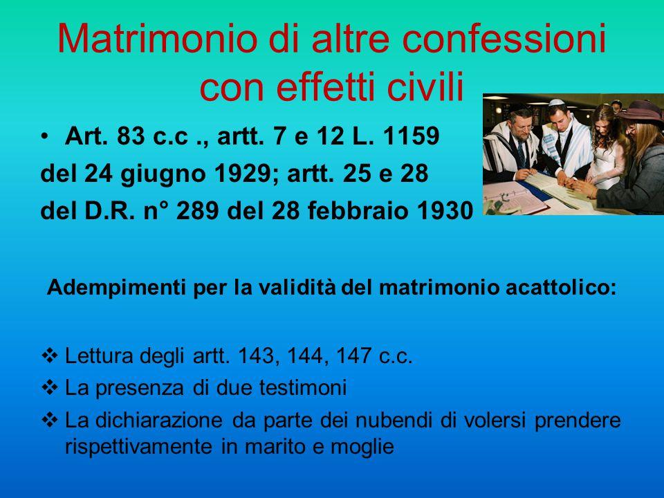 Matrimonio di altre confessioni con effetti civili Art. 83 c.c., artt. 7 e 12 L. 1159 del 24 giugno 1929; artt. 25 e 28 del D.R. n° 289 del 28 febbrai