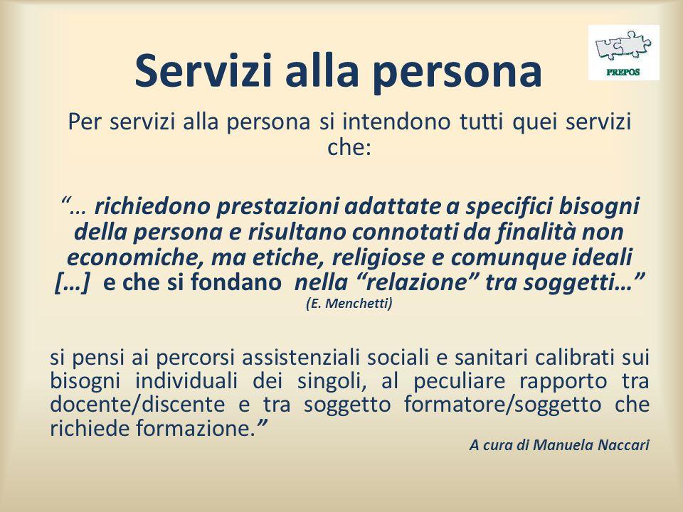 """Servizi alla persona Per servizi alla persona si intendono tutti quei servizi che: """"… richiedono prestazioni adattate a specifici bisogni della person"""