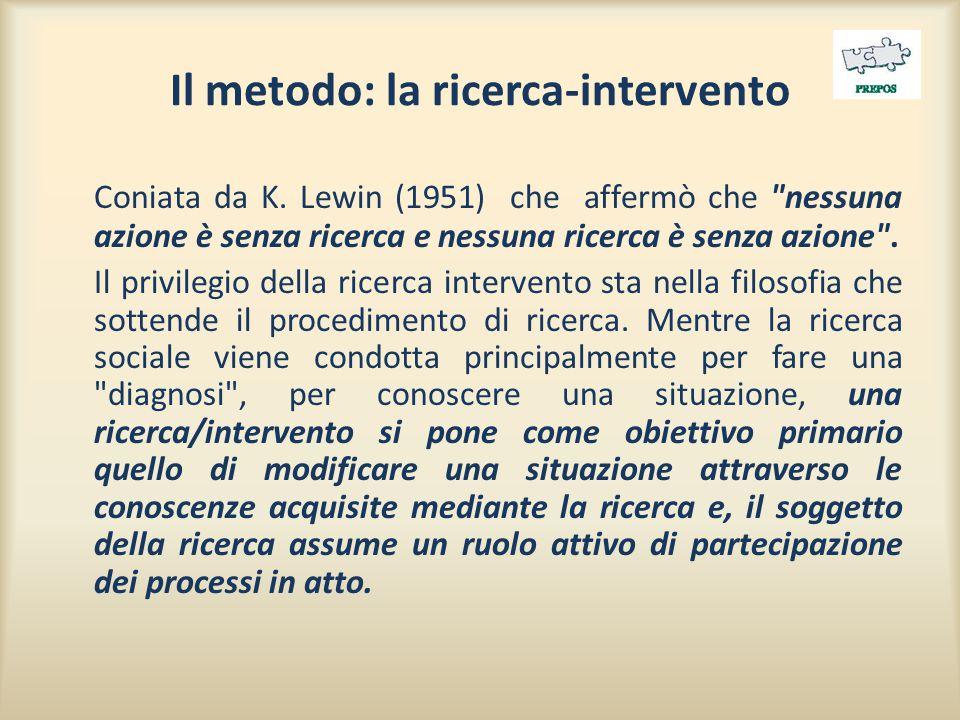 Il metodo: la ricerca-intervento Coniata da K. Lewin (1951) che affermò che