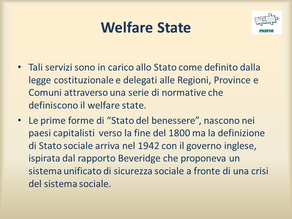 Welfare State Tali servizi sono in carico allo Stato come definito dalla legge costituzionale e delegati alle Regioni, Province e Comuni attraverso una serie di normative che definiscono il welfare state.