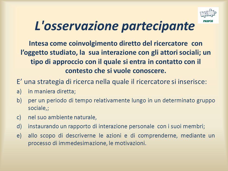 L osservazione partecipante Intesa come coinvolgimento diretto del ricercatore con l'oggetto studiato, la sua interazione con gli attori sociali; un tipo di approccio con il quale si entra in contatto con il contesto che si vuole conoscere.