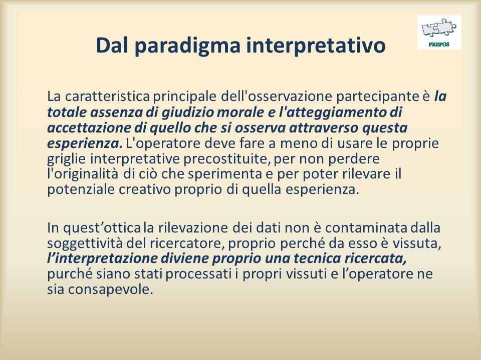 Dal paradigma interpretativo La caratteristica principale dell osservazione partecipante è la totale assenza di giudizio morale e l atteggiamento di accettazione di quello che si osserva attraverso questa esperienza.