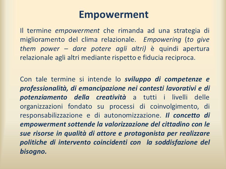 Empowerment Il termine empowerment che rimanda ad una strategia di miglioramento del clima relazionale. Empowering (to give them power – dare potere a
