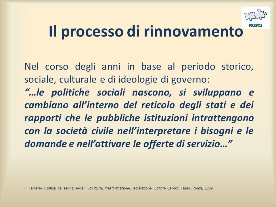 """Il processo di rinnovamento Nel corso degli anni in base al periodo storico, sociale, culturale e di ideologie di governo: """"…le politiche sociali nasc"""