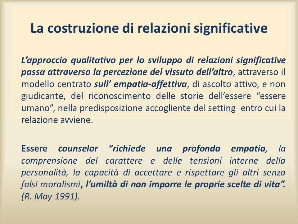 La costruzione di relazioni significative L'approccio qualitativo per lo sviluppo di relazioni significative passa attraverso la percezione del vissut