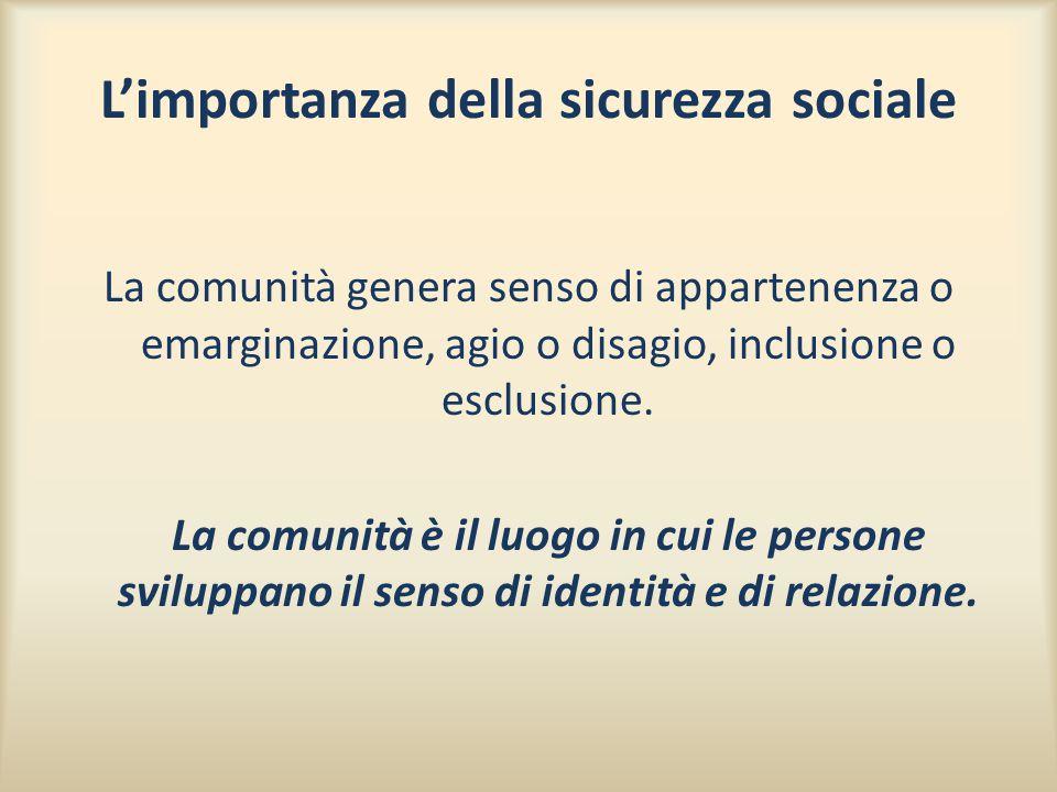 L'importanza della sicurezza sociale La comunità genera senso di appartenenza o emarginazione, agio o disagio, inclusione o esclusione. La comunità è