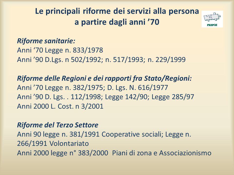Le principali riforme dei servizi alla persona a partire dagli anni '70 Riforme sanitarie: Anni '70 Legge n. 833/1978 Anni '90 D.Lgs. n 502/1992; n. 5