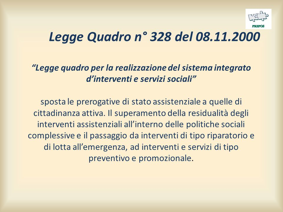 """""""Legge quadro per la realizzazione del sistema integrato d'interventi e servizi sociali"""" sposta le prerogative di stato assistenziale a quelle di citt"""