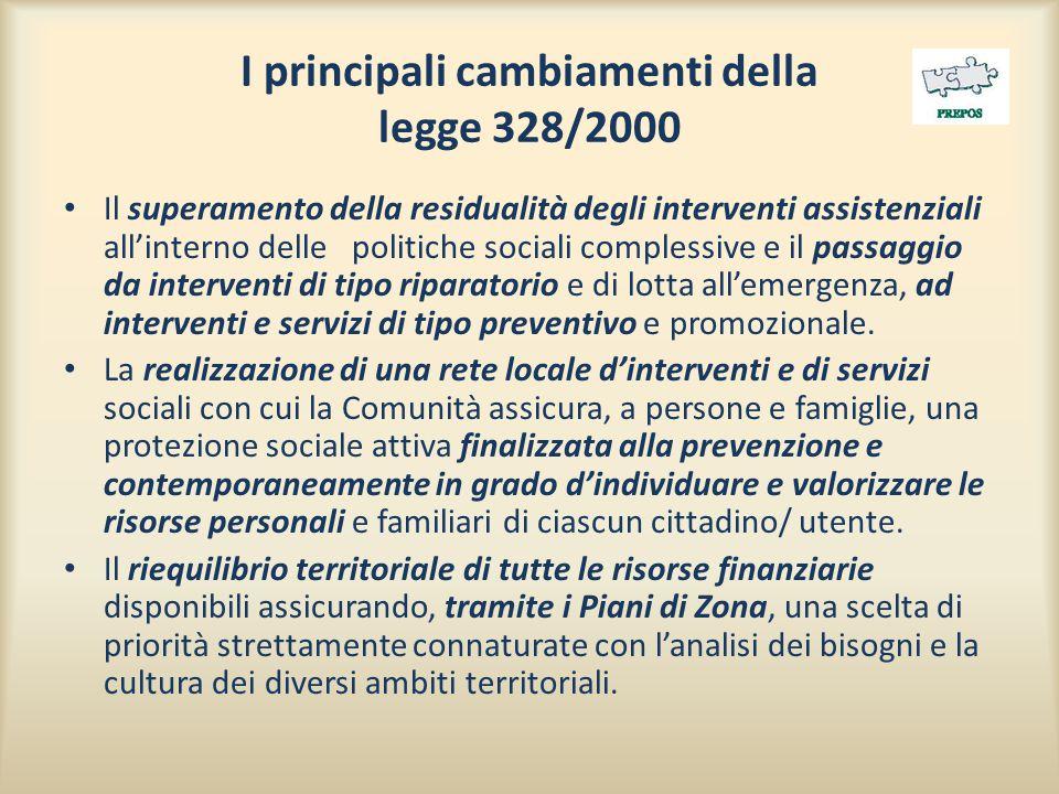 I principali cambiamenti della legge 328/2000 Il superamento della residualità degli interventi assistenziali all'interno delle politiche sociali complessive e il passaggio da interventi di tipo riparatorio e di lotta all'emergenza, ad interventi e servizi di tipo preventivo e promozionale.