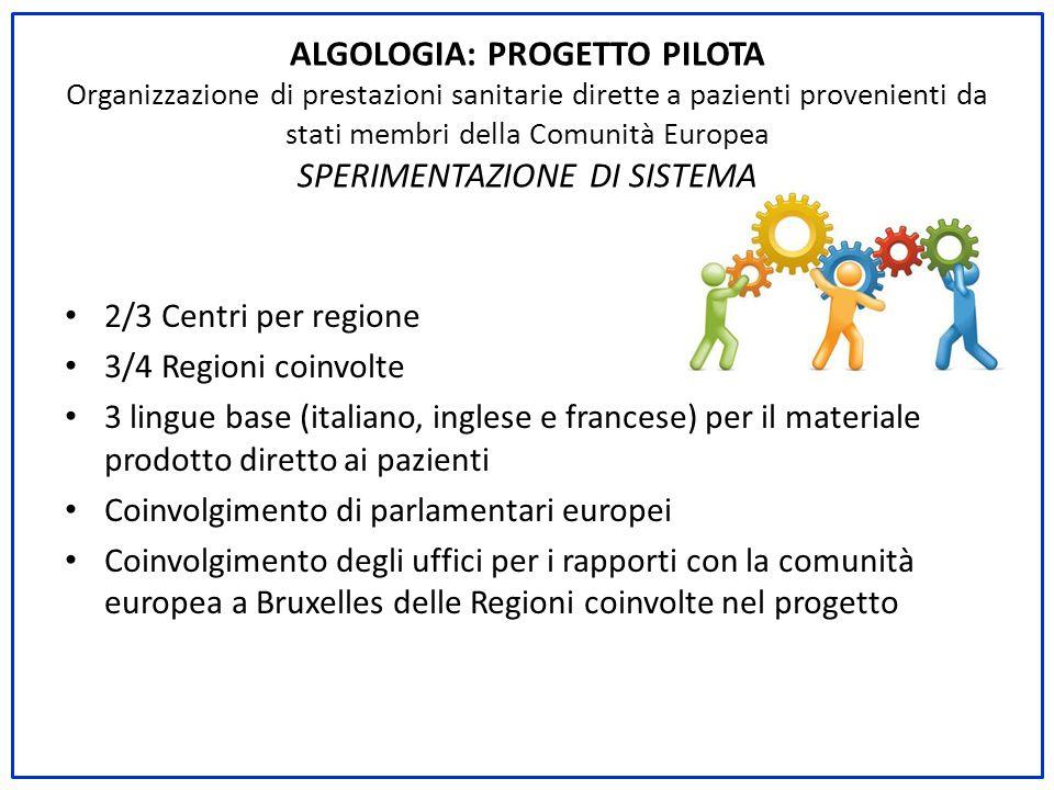 2/3 Centri per regione 3/4 Regioni coinvolte 3 lingue base (italiano, inglese e francese) per il materiale prodotto diretto ai pazienti Coinvolgimento