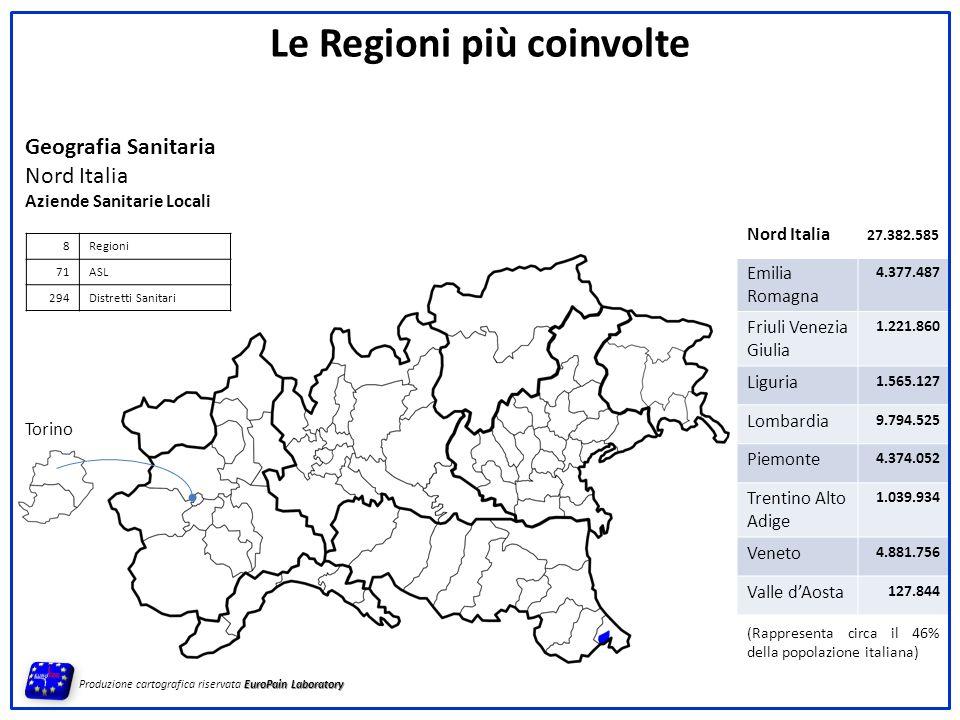 Torino Geografia Sanitaria Nord Italia Aziende Sanitarie Locali 8Regioni 71ASL 294Distretti Sanitari EuroPain Laboratory Produzione cartografica riser