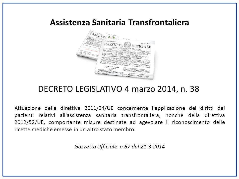 Assistenza Sanitaria Transfrontaliera DECRETO LEGISLATIVO 4 marzo 2014, n. 38 Attuazione della direttiva 2011/24/UE concernente l'applicazione dei dir