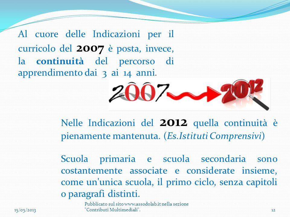 Al cuore delle Indicazioni per il curricolo del 2007 è posta, invece, la continuità del percorso di apprendimento dai 3 ai 14 anni. Nelle Indicazioni