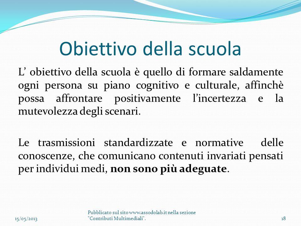 Obiettivo della scuola L' obiettivo della scuola è quello di formare saldamente ogni persona su piano cognitivo e culturale, affinchè possa affrontare