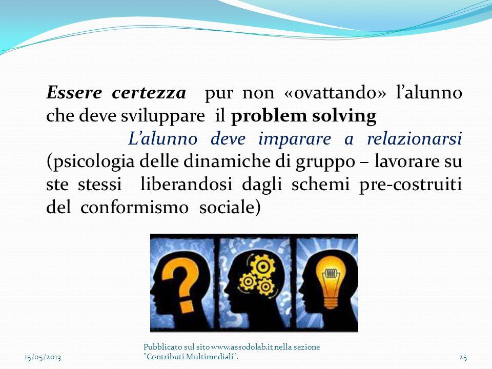 Essere certezza pur non «ovattando» l'alunno che deve sviluppare il problem solving L'alunno deve imparare a relazionarsi (psicologia delle dinamiche