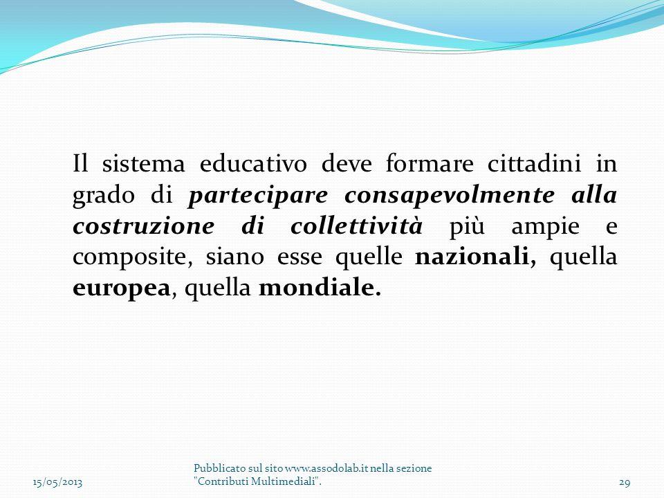 Il sistema educativo deve formare cittadini in grado di partecipare consapevolmente alla costruzione di collettività più ampie e composite, siano esse